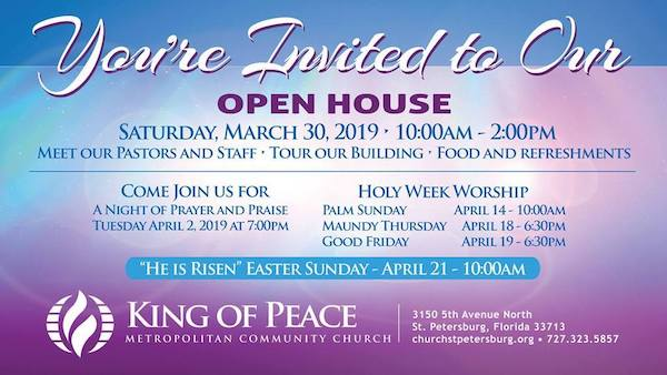 King of Peace Metropolitan Community Church - Open House - Historic Kenwood - St Petersburg Florida - LGBTQ+ Church - LGBTQ+ Affirming Church - St Petersburg Florida LGBTQ+ church